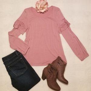 Tops - 《Clearance》Blush Ruffled Long Sleeve Shirt